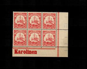 Karolinen: MiNr. 9, vom Eckrand, 6er Block mit Inschrift, postfrisch, **