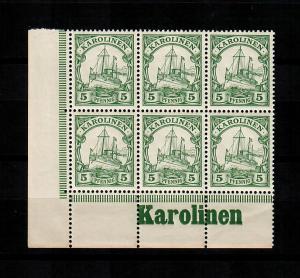 Karolinen: MiNr. 8, vom Eckrand, 6er Block mit Inschrift, postfrisch, **