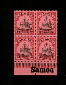 Samoa: MiNr. 15, 4er Block mit Inschrift, postfrisch, **