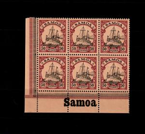 Samoa: MiNr. 14, 6er Block vom Eckrand mit Inschrift, postfrisch, **