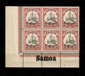 Samoa: MiNr. 13, 6er Block vom Eckrand mit Inschrift, postfrisch, **