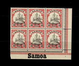 Samoa: MiNr. 13, 6er Block vom Eckrand rechts mit Inschrift, postfrisch, **