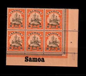 Samoa: MiNr. 12, 6er Block vom Eckrand rechts mit Inschrift, postfrisch, **