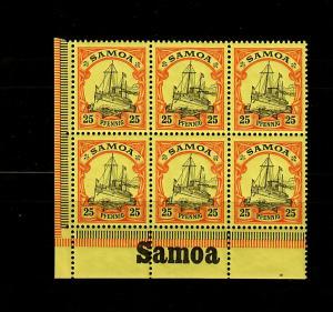 Samoa: MiNr. 11, 6er Block vom Eckrand mit Inschrift, postfrisch, **