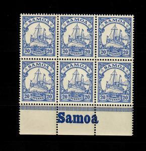 Samoa: MiNr. 10, 6er Block vom Unterrand mit Inschrift, postfrisch, **