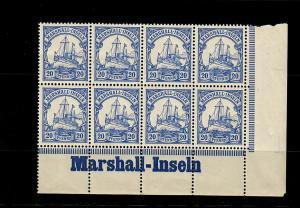 Marschall-Inseln: MiNr. 16, 8er Block mit Inschrift vom Eckrand, postfrisch, **