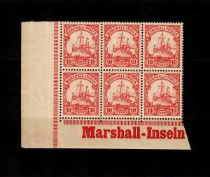 Marschall-Inseln: MiNr. 15, 6er Block mit Inschrift vom Eckrand, postfrisch, **