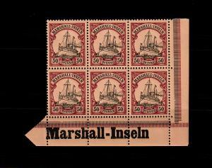 Marschall-Inseln: MiNr. 20, 6er Block mit Inschrift Eckrand, postfrisch **