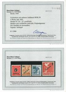 Berlin MiNr. 64-67, postfrisch, **, BPP Befund