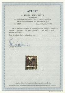 Berlin MiNr. 18, gestempelt Charlottenburg,  BPP Attest