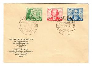 Berlin: MiNr. 61-63, Goethejahr, FDC Berlin, Sonderstempel