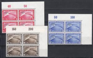 III. Reich: Chicago Fahrt MiNr. 496-498 im ECKRAND Viererblock