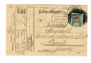 Feldpostkarte 1915 nach Basel mit Taxe/Nachgebühr