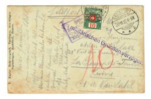 Ansichtskarte Feldpost in die Schweiz mit Taxe, aus milit. Gründen verzögert