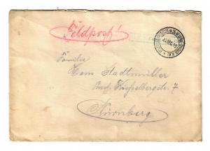 Feldpostbrief 1915 Feldpostexpedition der 26. Reserve Division nach Nürnberg