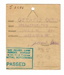 Kofferanhänger 1945, Norway Initial Screening, 2. Geb. Nachr. Abt.