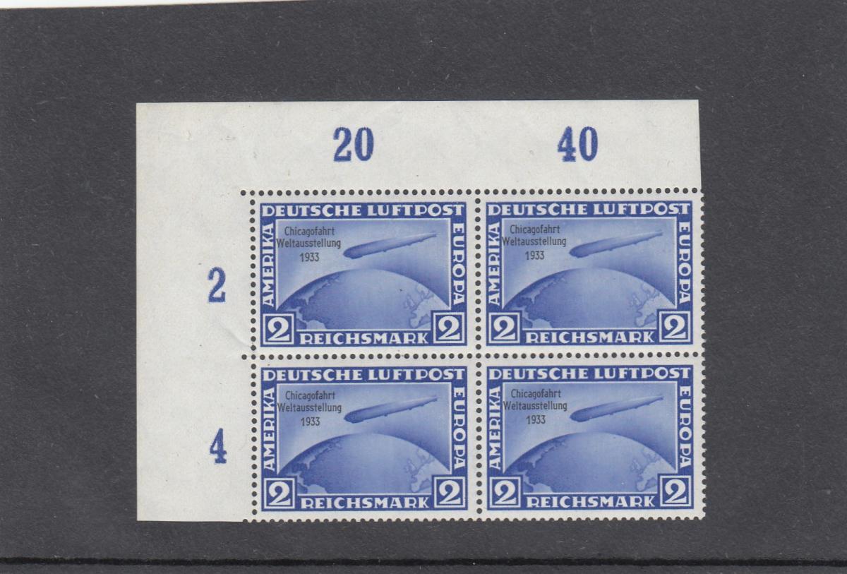 Deutsches Reich, MiNr. 496-498, Chicago 1933, postfrisch, Eckrand Viererblock 1