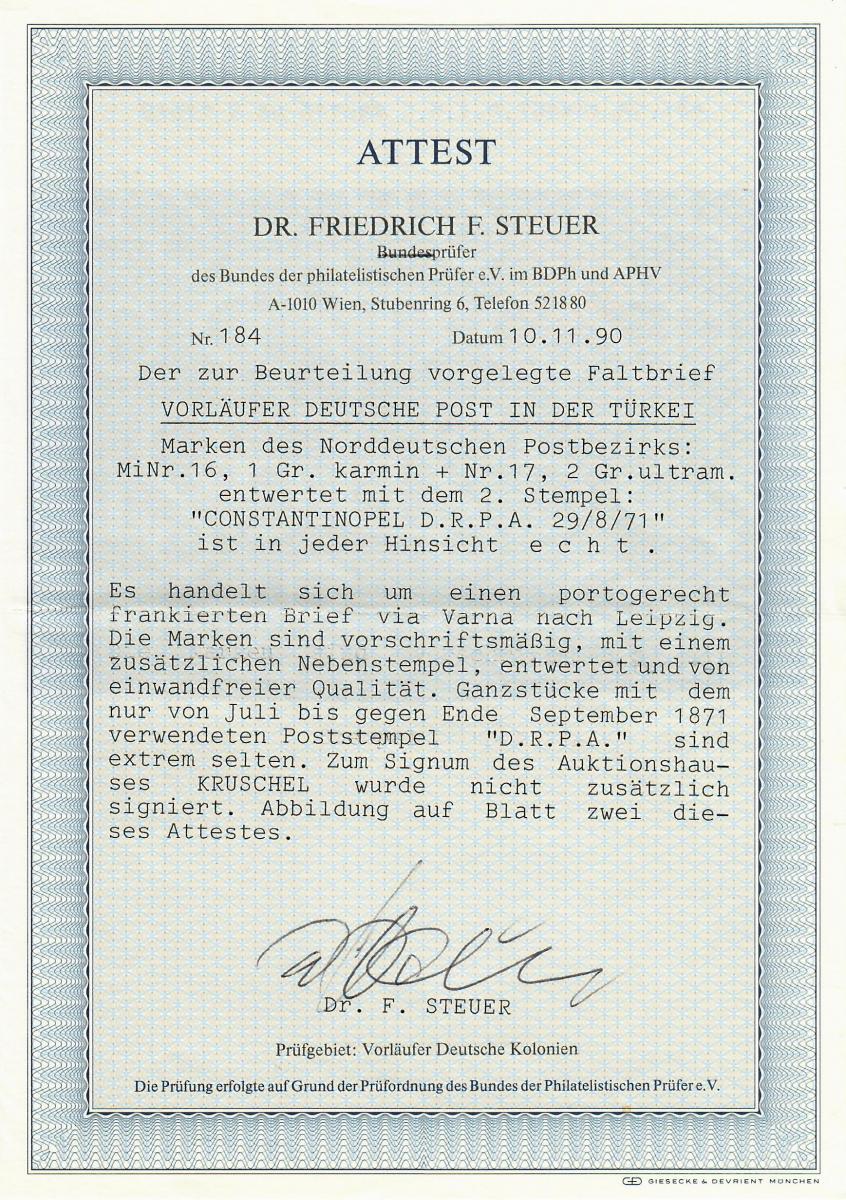 Deutsche Post in der Türkei: NDP 16-17, Constantinopel, nur 7 Belege bekannt 2