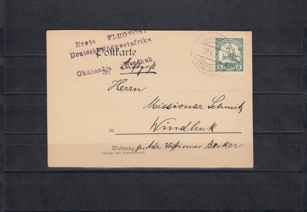 DSWA: Flugpostkarte 1914: Okahandja, 4. Etappe des 1. Flugversuchs, Rarität 0