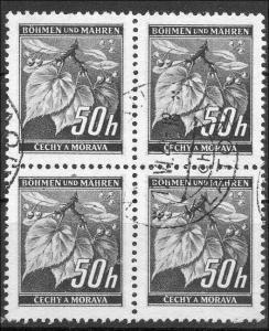 Böhmen und Mähren 4er Block  gestempelt  MiNr. 55