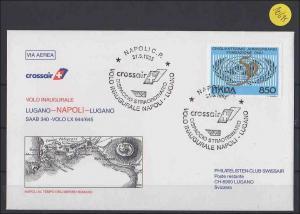 Luftpostbrief Erstflug Swissair   Lugano-Napoli-Lugano          1995