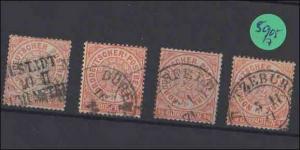 Norddeutscher Postbezirk  --  gestempelt    4x   MiNr. 15