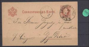 Österreich   Ganzsache echt gelaufen  1880       minimale Gebrauchsspuren
