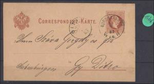 Österreich   Ganzsache echt gelaufen  1882       minimale Gebrauchsspuren