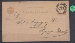 Ungarn Ganzsache echt gelaufen  1888