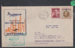 Luftpost echt gelaufen      Lufthansa Erstflug   New York - Frankfurt    1960