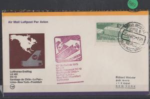 Luftpost echt gelaufen      Lufthansa Erstflug  Santiago -  New York    1975