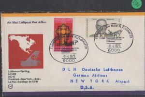 Luftpost echt gelaufen    Erstflug  Lufthansa    Frankfurt - New York    1975