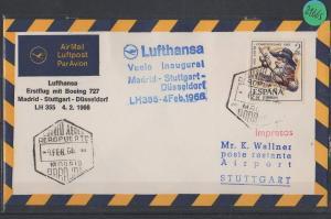 Luftpost echt gelaufen      Lufthansa Erstflug   Madrid - Düsseldorf    1966