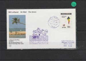Luftpostkarte   Erstflug Lufthansa   Santo Domingo - San Juan    1988