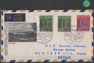 Luftpost echt gelaufen    Erstflug  Lufthansa  Düsseldorf - New York  1967