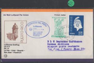 Luftpost echt gelaufen      Lufthansa Erstflug   Bogota - San Juan     1981
