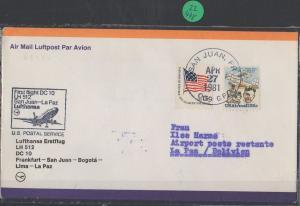 Luftpost echt gelaufen      Lufthansa Erstflug   San Juan - Bogota     1981