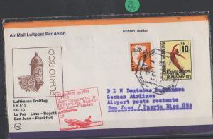 Luftpost echt gelaufen      Lufthansa Erstflug  La Paz - San Juan     1981