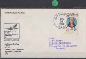 Luftpost echt gelaufen      Lufthansa Erstflug  San Juan - Frankfurt     1981