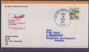 Luftpost echt gelaufen   Lufthansa Erstflug   New York - Düsseldorf      1980