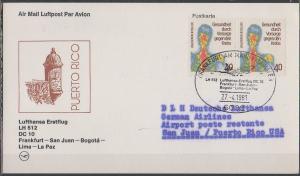 Luftpost echt gelaufen    Erstflug  Lufthansa  Frankfurt - San Juan    1981