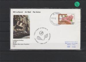 Luftpostkarte  Lufthansa- Erstflug     Antigua - San Juan     1988