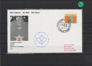 Luftpostkarte  Lufthansa- Erstflug    Montreal - Los Angeles     1988