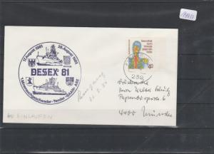 Brief  mit Schiffsstempel     Tender  SAAR     Dessex 81