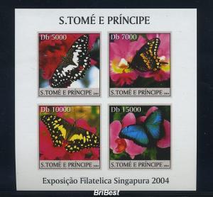 S.TOME 2004 Block Motiv SCHMETTERLINGE postfr. (85139)