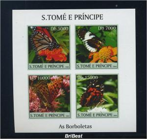 S.TOME 2004 Block Motiv SCHMETTERLINGE postfr. (85142)