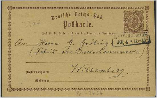 Ganzsache 1884 mit R3 WERNIGERODE (51593) 0