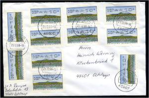 BUND 1998 ATM interessante Mehrfach-Frankatur (55198)