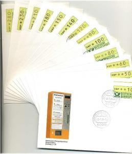 BUND 1981 ATM Nr 1 TS1 kpl auf 14 FDC ME 200.- (55466)
