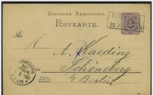 Ganzsache 1888 mit R3 NIENBURG (51599)